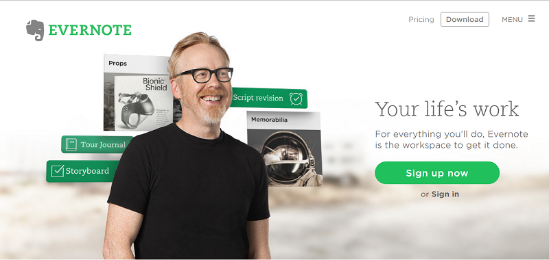 An example of social proof: Adam Savage, a celebrity Evernote user