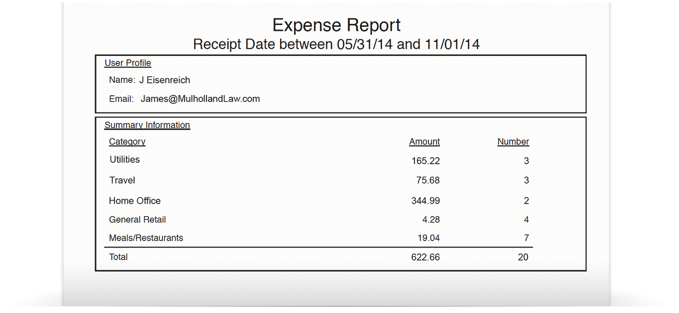 Neat Business Expense Tracking Reporting Feature – Expense Report