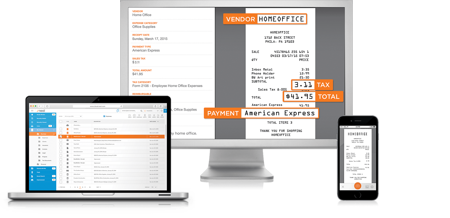 Neat's scanning software for desktop, mobile and tablet devices