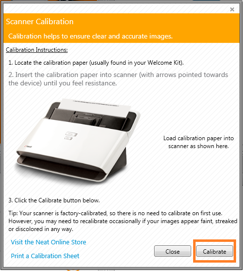 Neat Windows - Calibrate the NeatDesk Scanner - Step 3